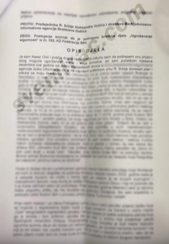 Prijava protiv Aleksandra Vucica i BIA